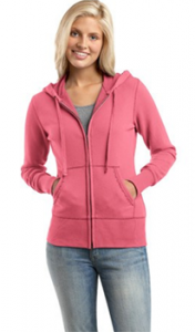 Full Zip Cotton Hoodies Tapered for Women's Figure