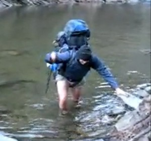 pic of hiking in water with wet feet
