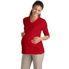Port Authority Silk Touch Maternity 3/4-Sleeve V-Neck Shirt for Women
