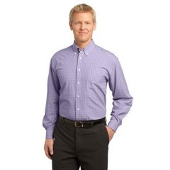 Port Authority Plaid Pattern Easy Care Shirt for Men