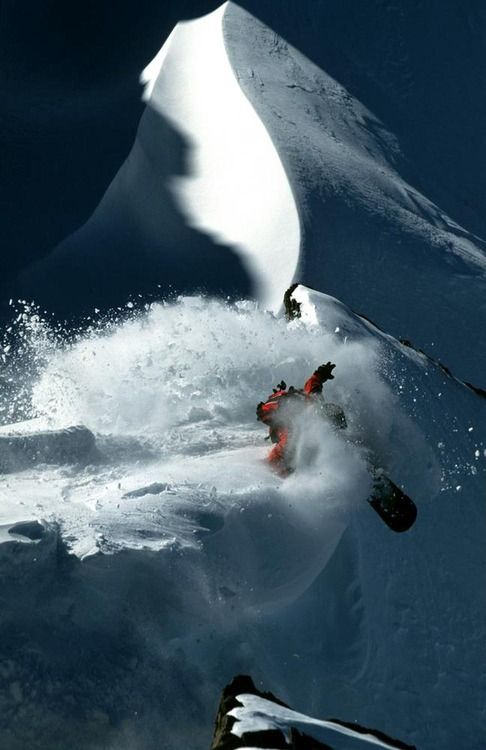snowboarding off cornice
